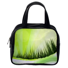 Green Background Wallpaper Texture Classic Handbags (one Side)
