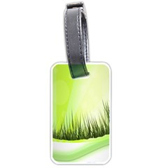 Green Background Wallpaper Texture Luggage Tags (one Side)