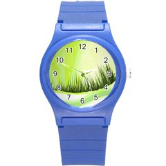 Green Background Wallpaper Texture Round Plastic Sport Watch (s)