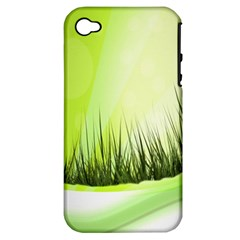 Green Background Wallpaper Texture Apple Iphone 4/4s Hardshell Case (pc+silicone)