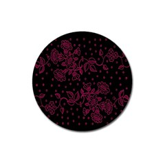 Pink Floral Pattern Background Magnet 3  (round)
