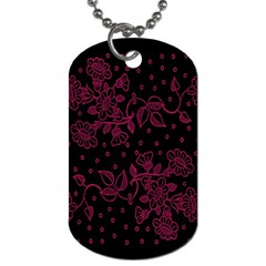 Pink Floral Pattern Background Dog Tag (one Side)