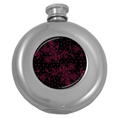 Pink Floral Pattern Background Round Hip Flask (5 Oz)