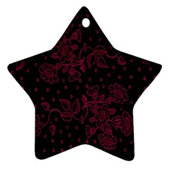 Pink Floral Pattern Background Star Ornament (two Sides)