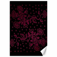 Pink Floral Pattern Background Canvas 12  X 18