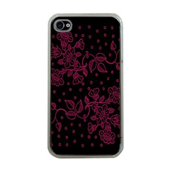 Pink Floral Pattern Background Apple Iphone 4 Case (clear)