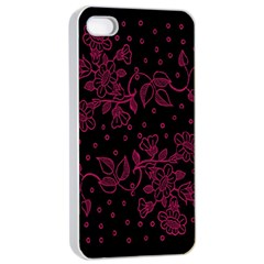 Pink Floral Pattern Background Apple Iphone 4/4s Seamless Case (white)