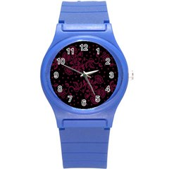 Pink Floral Pattern Background Round Plastic Sport Watch (s)