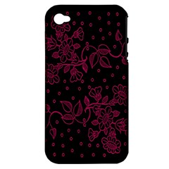 Pink Floral Pattern Background Apple Iphone 4/4s Hardshell Case (pc+silicone)