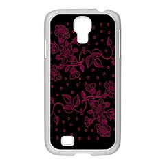 Pink Floral Pattern Background Samsung Galaxy S4 I9500/ I9505 Case (white)