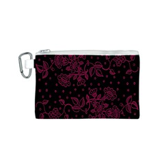 Pink Floral Pattern Background Canvas Cosmetic Bag (s)