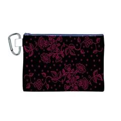 Pink Floral Pattern Background Canvas Cosmetic Bag (m)