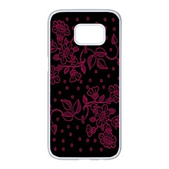 Pink Floral Pattern Background Samsung Galaxy S7 Edge White Seamless Case