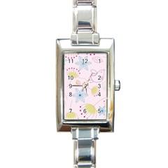 Pretty Summer Garden Floral Bird Pink Seamless Pattern Rectangle Italian Charm Watch