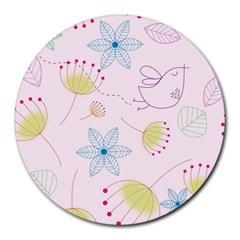 Pretty Summer Garden Floral Bird Pink Seamless Pattern Round Mousepads