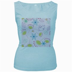 Pretty Summer Garden Floral Bird Pink Seamless Pattern Women s Baby Blue Tank Top
