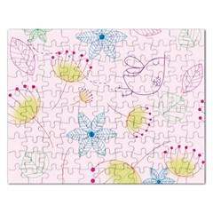 Pretty Summer Garden Floral Bird Pink Seamless Pattern Rectangular Jigsaw Puzzl