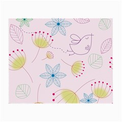 Pretty Summer Garden Floral Bird Pink Seamless Pattern Small Glasses Cloth (2 Side)