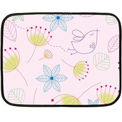 Pretty Summer Garden Floral Bird Pink Seamless Pattern Double Sided Fleece Blanket (mini)