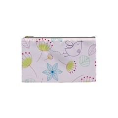 Pretty Summer Garden Floral Bird Pink Seamless Pattern Cosmetic Bag (small)