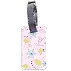 Pretty Summer Garden Floral Bird Pink Seamless Pattern Luggage Tags (one Side)