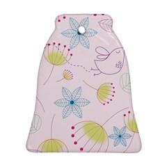 Pretty Summer Garden Floral Bird Pink Seamless Pattern Ornament (bell)