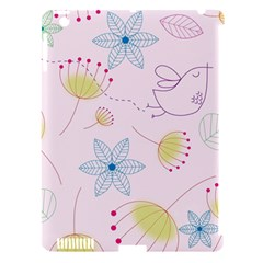 Pretty Summer Garden Floral Bird Pink Seamless Pattern Apple Ipad 3/4 Hardshell Case (compatible With Smart Cover)