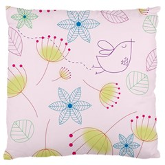 Pretty Summer Garden Floral Bird Pink Seamless Pattern Large Cushion Case (two Sides)