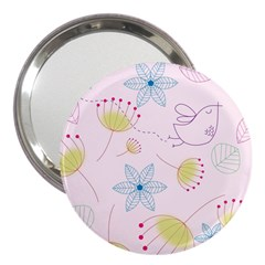 Pretty Summer Garden Floral Bird Pink Seamless Pattern 3  Handbag Mirrors