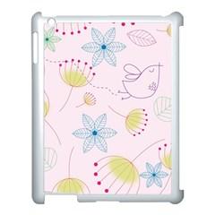 Pretty Summer Garden Floral Bird Pink Seamless Pattern Apple Ipad 3/4 Case (white)