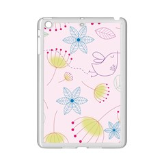 Pretty Summer Garden Floral Bird Pink Seamless Pattern Ipad Mini 2 Enamel Coated Cases