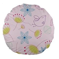 Pretty Summer Garden Floral Bird Pink Seamless Pattern Large 18  Premium Round Cushions