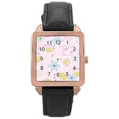 Pretty Summer Garden Floral Bird Pink Seamless Pattern Rose Gold Leather Watch