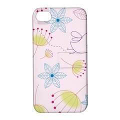 Pretty Summer Garden Floral Bird Pink Seamless Pattern Apple Iphone 4/4s Hardshell Case With Stand