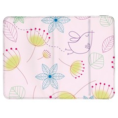 Pretty Summer Garden Floral Bird Pink Seamless Pattern Samsung Galaxy Tab 7  P1000 Flip Case