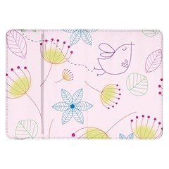 Pretty Summer Garden Floral Bird Pink Seamless Pattern Samsung Galaxy Tab 8 9  P7300 Flip Case