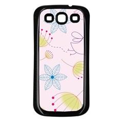 Pretty Summer Garden Floral Bird Pink Seamless Pattern Samsung Galaxy S3 Back Case (black)