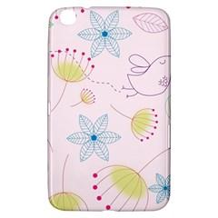 Pretty Summer Garden Floral Bird Pink Seamless Pattern Samsung Galaxy Tab 3 (8 ) T3100 Hardshell Case