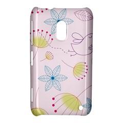 Pretty Summer Garden Floral Bird Pink Seamless Pattern Nokia Lumia 620