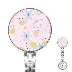 Pretty Summer Garden Floral Bird Pink Seamless Pattern Stainless Steel Nurses Watch