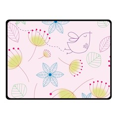 Pretty Summer Garden Floral Bird Pink Seamless Pattern Double Sided Fleece Blanket (small)