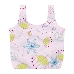 Pretty Summer Garden Floral Bird Pink Seamless Pattern Full Print Recycle Bags (l)