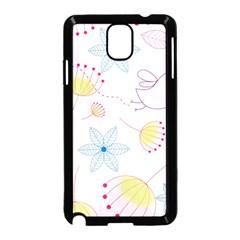 Pretty Summer Garden Floral Bird Pink Seamless Pattern Samsung Galaxy Note 3 Neo Hardshell Case (black)