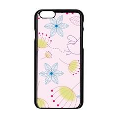 Pretty Summer Garden Floral Bird Pink Seamless Pattern Apple Iphone 6/6s Black Enamel Case
