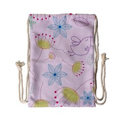 Pretty Summer Garden Floral Bird Pink Seamless Pattern Drawstring Bag (small)