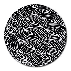 Digitally Created Peacock Feather Pattern In Black And White Round Mousepads