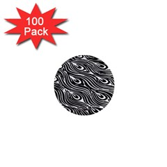 Digitally Created Peacock Feather Pattern In Black And White 1  Mini Magnets (100 Pack)