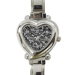 Digitally Created Peacock Feather Pattern In Black And White Heart Italian Charm Watch