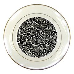 Digitally Created Peacock Feather Pattern In Black And White Porcelain Plates