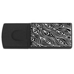 Digitally Created Peacock Feather Pattern In Black And White Usb Flash Drive Rectangular (4 Gb)
